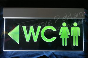 ışıklı wc tabela